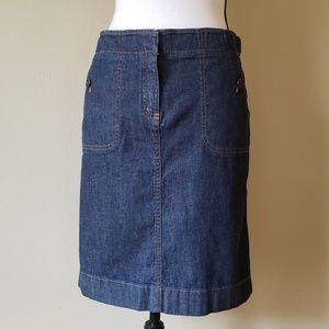 Anne Taylor Denim Jean Straight Mod Skirt